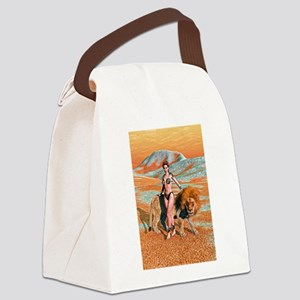 Lady and Lion Canvas Lunch Bag