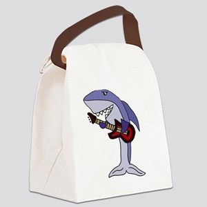 Shark Playing Guitar Canvas Lunch Bag
