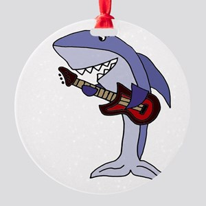 Shark Playing Guitar Round Ornament
