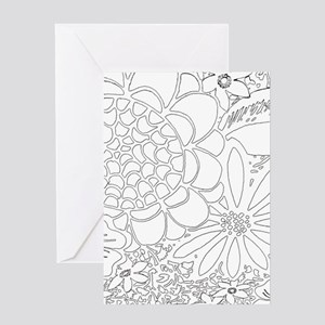 Floral Line Drawing Greeting Cards