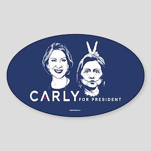 Carly Hillary Bunny Ears Sticker (Oval)
