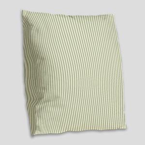 Green Ticking Burlap Throw Pillow
