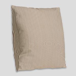 Brown Ticking Burlap Throw Pillow