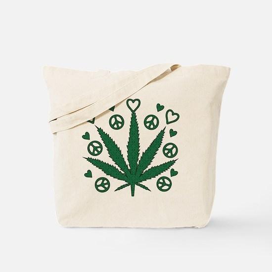 Peace Love Weed Tote Bag