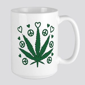 Peace Love Weed Large Mug