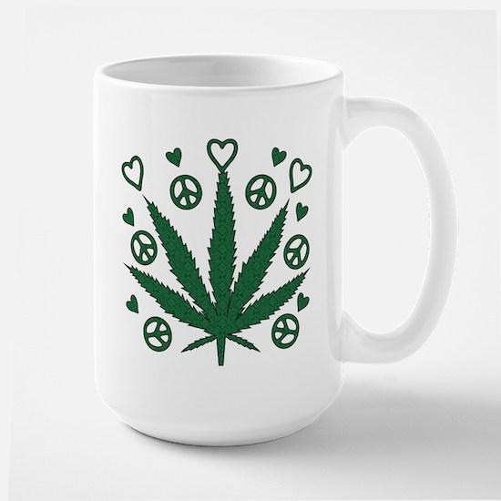 Peace Love Weed Large Mug