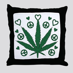 Peace Love Weed Throw Pillow