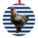 Rooster on Blue Stripes Ornament