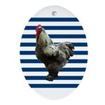 Rooster on Blue Stripes Ornament (Oval)