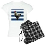 Rooster on Blue Stripes Pajamas
