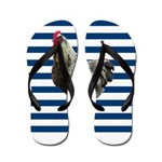 Rooster on Blue Stripes Flip Flops