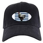 Rooster on Blue Stripes Baseball Hat