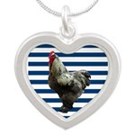 Rooster on Blue Stripes Necklaces