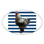 Rooster on Blue Stripes Sticker