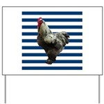 Rooster on Blue Stripes Yard Sign