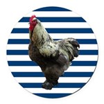 Rooster on Blue Stripes Round Car Magnet