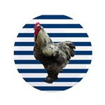 Rooster on Blue Stripes Button