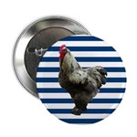 Rooster on Blue Stripes 2.25