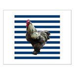Rooster on Blue Stripes Posters