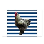 Rooster on Blue Stripes Postcards (Package of 8)