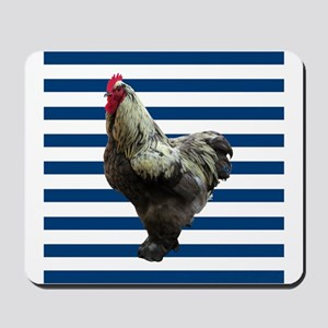 Rooster on Blue Stripes Mousepad