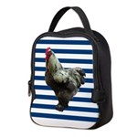 Rooster on Blue Stripes Neoprene Lunch Bag