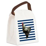 Rooster on Blue Stripes Canvas Lunch Bag