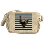 Rooster on Blue Stripes Messenger Bag