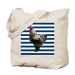 Rooster on Blue Stripes Tote Bag
