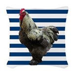 Rooster on Blue Stripes Woven Throw Pillow