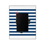 Rooster on Blue Stripes Picture Frame