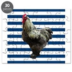 Rooster on Blue Stripes Puzzle