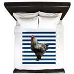 Rooster on Blue Stripes King Duvet