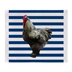 Rooster on Blue Stripes Throw Blanket