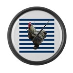 Rooster on Blue Stripes Large Wall Clock