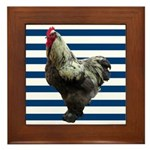 Rooster on Blue Stripes Framed Tile