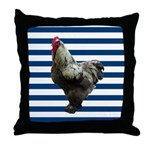 Rooster on Blue Stripes Throw Pillow