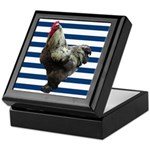 Rooster on Blue Stripes Keepsake Box