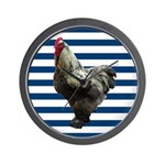 Rooster on Blue Stripes Wall Clock