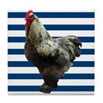 Rooster on Blue Stripes Tile Coaster