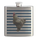 Rooster on Blue Stripes Flask