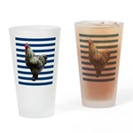 Rooster on Blue Stripes Drinking Glass