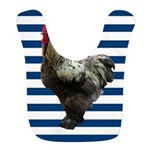 Rooster on Blue Stripes Bib
