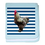 Rooster on Blue Stripes baby blanket