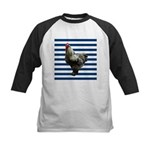 Rooster on Blue Stripes Baseball Jersey