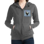 Rooster on Blue Stripes Women's Zip Hoodie