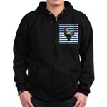 Rooster on Blue Stripes Zip Hoodie