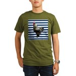 Rooster on Blue Stripes T-Shirt
