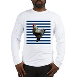 Rooster on Blue Stripes Long Sleeve T-Shirt