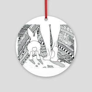 Rabbit Beyond the Rainbow Bridge Ornament (Round)